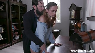 Jealous stepdad spanks and fucks pretty ginger stepdaughter Lily Happiness