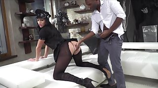 Classy hustler give ripped pantyhose and police unvaried Carolina Vogue is fucked by two clients