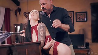 Older gent gets the club of young brunette beauty Marley Brinx