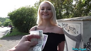 Blonde model Marilyn Sugar gives a blowjob coupled with gets fucked in outdoors