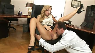 Fair-haired knockout Aleksa Diamond gets the bone in the office