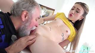 Old Goes Young - Lovely Vlada splits open her pine legs