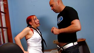 Redhead amateur with pigtails gets her tight ass fucked hard